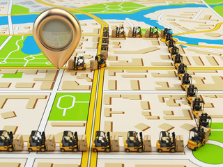 Wall Mural - Forklift with cardboard boxes on the city map. Cargo delivery co