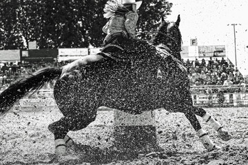 Rodeo Barrel Racer Turning the Barrel at Speed