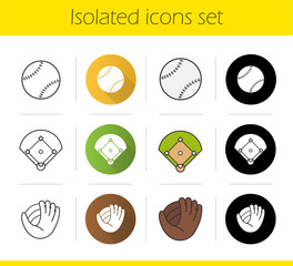Baseball equipment icons set