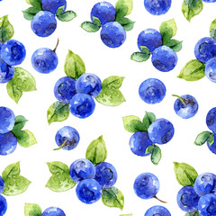Seamless pattern with bilberry