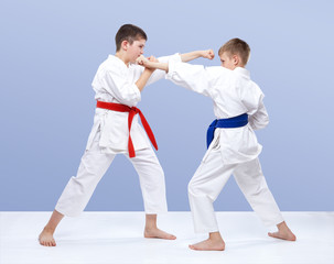 Two boys train strikes and blocks of hands