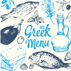 Background with greek food. Menu pattern.