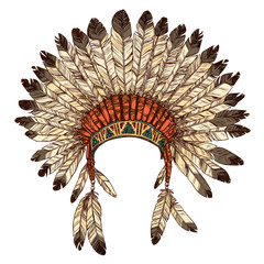 Hand Drawn Native American Indian Headdress. Vector Color Illustration Of Indian Tribal Chief Feather Hat