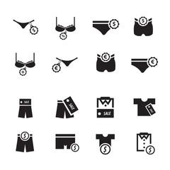 underwear icon design set
