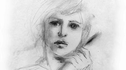 Portrait of a boy, drawn in pencil