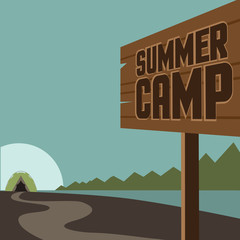 Summer camp background. EPS 10 vector royalty free stock illustration for ad, promotion, poster, flier, blog, article, social media, marketing