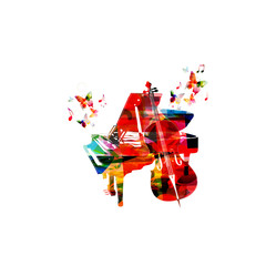 Colorful music background with violoncello and piano