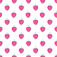 Seamless background with pink strawberries. Cute vector strawberry pattern. Summer fruit illustration. Summer fruit illustration on white background. Cute design for textile and decor.