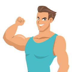 flat design man with fitness outfit icon vector illustration silhouette