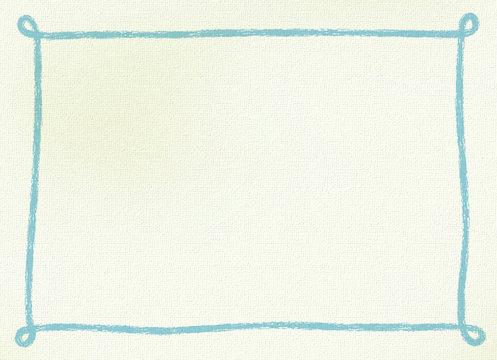 画用紙にクレヨンで手書きしたようなシンプルなフレーム・背景素材 横長 ブルー系