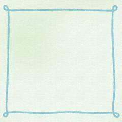 画用紙にクレヨンで手書きしたようなシンプルなフレーム・背景素材 正方形 ブルー系