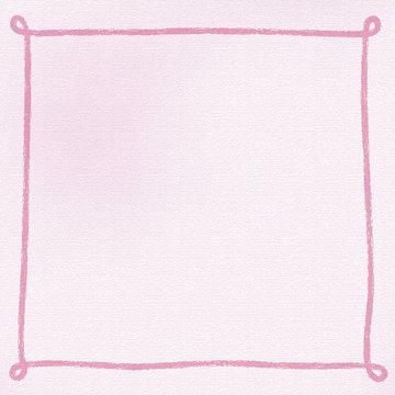 画用紙にクレヨンで手書きしたようなシンプルなフレーム・背景素材 正方形 ピンク系