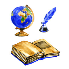 Watercolor vintage book, globe and ink pen illustrations