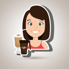 persons and coffee isolated icon design, vector illustration  graphic