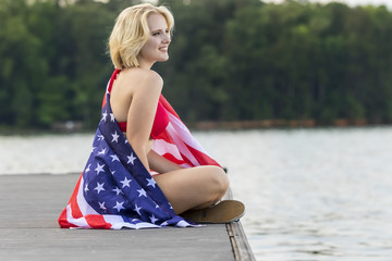 Model Celebrating July 4th