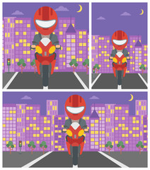 Man riding motorcycle vector illustration.