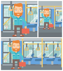 Man traveling by public transport.
