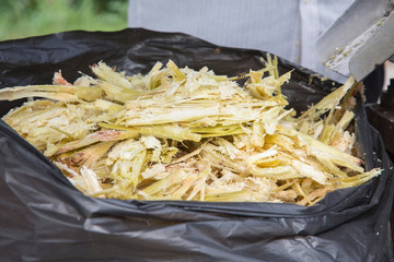 Close up stack bagasse of sugarcane