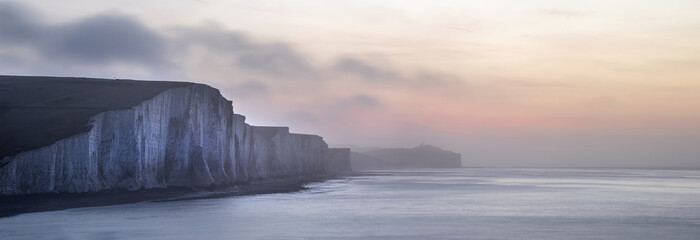Panorama landscape at sunrise over Seven Sisters in South Downs