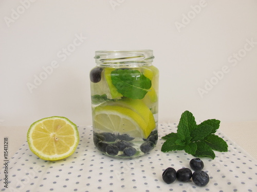 aroma wasser mit zitrone blaubeeren und minze stock photo and royalty free images on fotolia. Black Bedroom Furniture Sets. Home Design Ideas