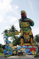 Colorful Guan Yu Statue at outdoor in chinese temple
