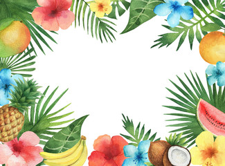 Watercolor illustration of the tropical plants and fruits.