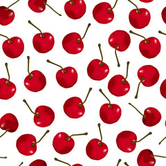 Seamless pattern of red cherries
