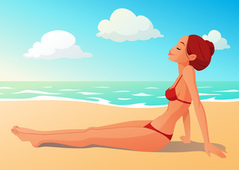 Tanned young woman having a sunbath on the beach. Summer seashore cartoon vector illustration.