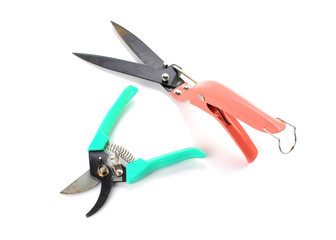 gardening secateurs for cutting branches isolated on white background
