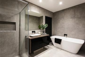Modern bathroom with a shower area and bathtub