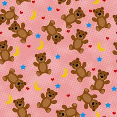 Teddy bears seamless pattern