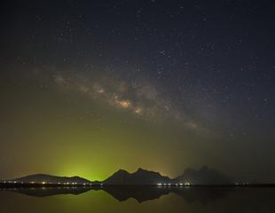 Milky Way Galaxy on green sky at Khao Sam Roi Yod National park Thailand.
