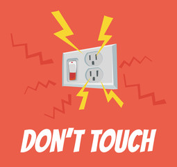 Do not touch the socket. High voltage. Vector flat cartoon banner illustration