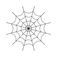 Spider web clip. Black cobweb element, isolated on white background. Spiderweb silhouette graphic. Symbol of halloween, network, trap and danger, scary, arachnid. Design tattoo. Vector illustration