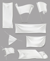 White banners and flags, illustration mesh, vector set mockup