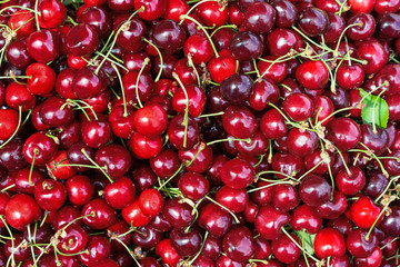 Cherries as background. Close up, top view, high resolution product.
