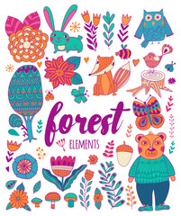 Vector forest elements in doodle childish style