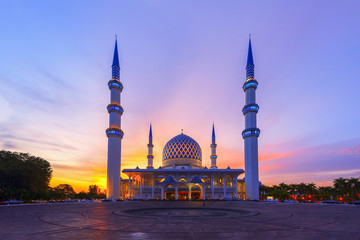 The Vibrant Color of Shah Alam Mosque / Salahuddin Abdul Aziz Shah mosque during dramatic Wall mural
