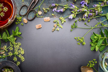 Herbal tea preparation with fresh herbs and flowers on black chalkboard background, top view, frame