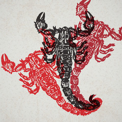Vector Illustrated scorpion in engraved technic on old paper