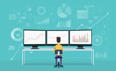 business people on monitor report graph and business analyze