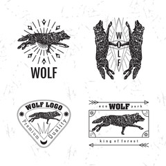 Vector black and white set with forest wolf. The wolf as main element of logotypes on white background. Engraves vector design graphic element, emblem, logo, sign, identity, logotype