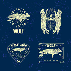 Vector colorful set with forest wolf. The wolf as main element of logotypes on dark blue background. Engraves vector design graphic element, emblem, logo, sign, identity, logotype