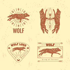 Vector colorful set with forest wolf. The wolf as main element of logotypes on beige background. Engraves vector design graphic element, emblem, logo, sign, identity, logotype