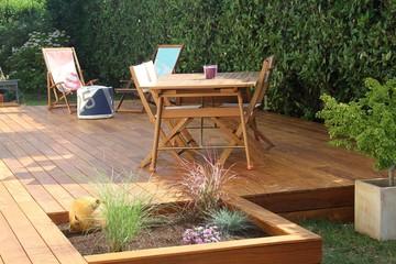 réalisation d'une terrasse en bois exotique