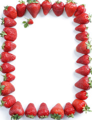Fram from strawberry on white background. Copy space. Top view, high resolution product.