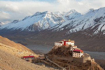 Picturesque view of the Key Gompa Monastery (4166 m) at sunset. Spiti valley, Himachal Pradesh, India.