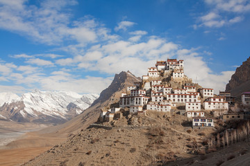 Picturesque view of the Key Gompa Monastery (4166 m) at sunrise. Spiti valley, Himachal Pradesh, India.