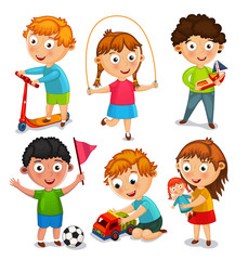 Kids are playing with toys. Boys are  riding a scooter, playing with a toy car and a ball. Girls are jumping rope and playing with a doll. Illustration