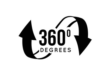 Angle 360 degrees view sign icon.